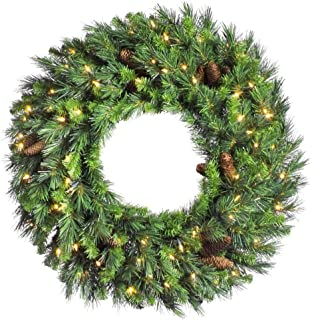 Vickerman Pre-Lit Cheyenne Pine Wreath with 200 Warm White Italian LED Lights, 60-Inch, Green