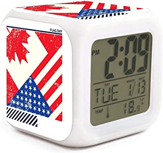 Flag Day Merica Independence Day Canada Alarm Clock Displays Time Date and Temperature Soft Nightlight for Kids Home Office Bedroom Heavy Sleepers
