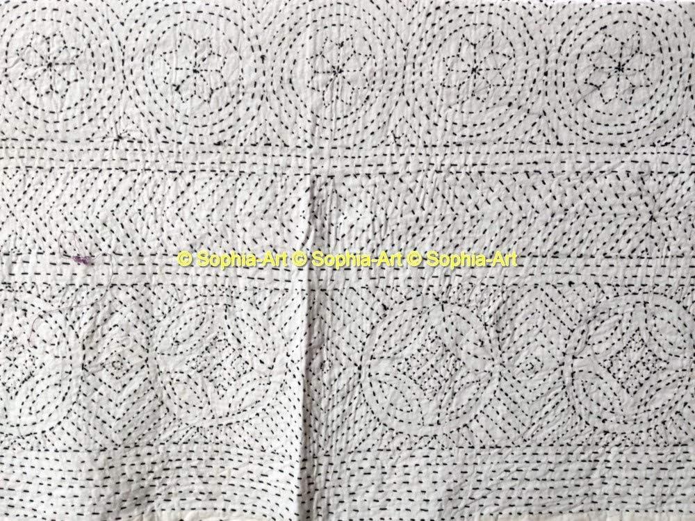 Sophia-Art Couvre-lit réversible style indien en pur coton kantha pour lit king size, Coton, Rouge, 90