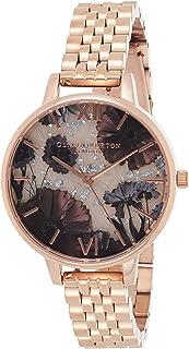 Olivia Burton Women's Silver & Semi Precious Stone & Resin & Ss Glitter Dial Ionic Rose Gold Plated Steel Watch - OB16EX130