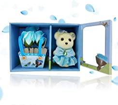 Home Runner Artificial Soap Rose Flower with Cute Small Teddy Bear - Best Gifts for Valentine's Day, Anniversary, Birthday, Mother's Day (Blue, Teddy with Rose)