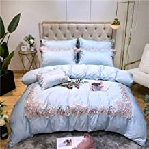 Blue Satin Long-staple Cotton Small Floral Embroidery Family of Four Cotton Bedding Cotton Simple Cotton Bed Linen Quilt (...