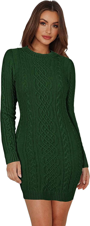 Meenew Women's 半額 Cable Knit Sweater Dr Mini 贈答 Dress Crewneck Bodycon
