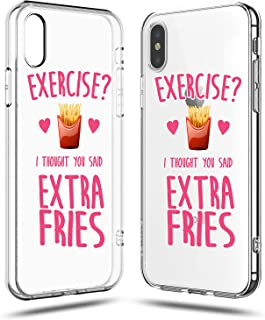 iPhone X Girls Cute Women Case,Trendy Life Attitude Funny Hipster Sassy Quotes Exercise? I Thought You Said Extra Fries French Fries for Teens Teenager Clear Rubber Case Compatible for iPhone X/Xs
