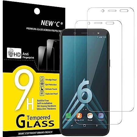 NEW'C 2 Pezzi, Vetro Temperato Compatibile con Samsung Galaxy A6 (SM-A600F), Pellicola Prottetiva Anti Graffio, Anti-Impronte, Durezza 9H, 0,33mm Ultra Trasparente, Ultra Resistente