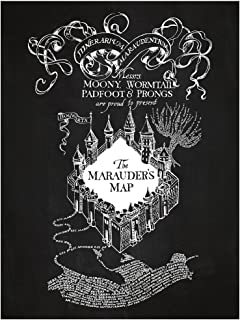 Inked and Screened Sci-Fi and Fantasy The Marauder's Map Print, Chalkboard - White Ink