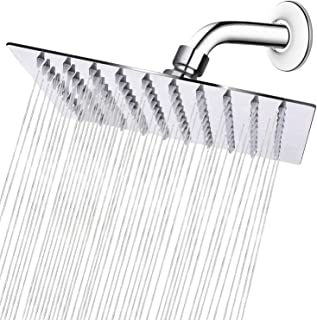 HIGH PRESSURE Rain Shower head, NearMoon High Flow Stainless Steel 8 Inch Square ShowerHead, Pressure Boosting Design, Awesome Shower Experience Even At Low Water Flow (Chrome Finish)