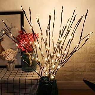 GM G-MORE 2 Pack LED Branch Lights, Battery Powered Decorative Lights String, Willow Twig Lighted Branch for Home Decorati...