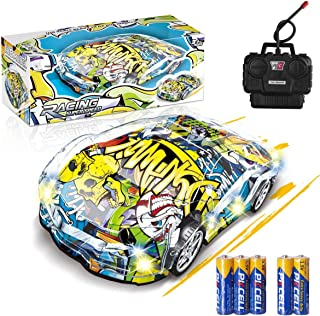 Remote Control Car, Graffiti RC Cars with Lights Included Battery, Xmas Gifts for Kids LED Light RC Car 1/18 Electric Remo...