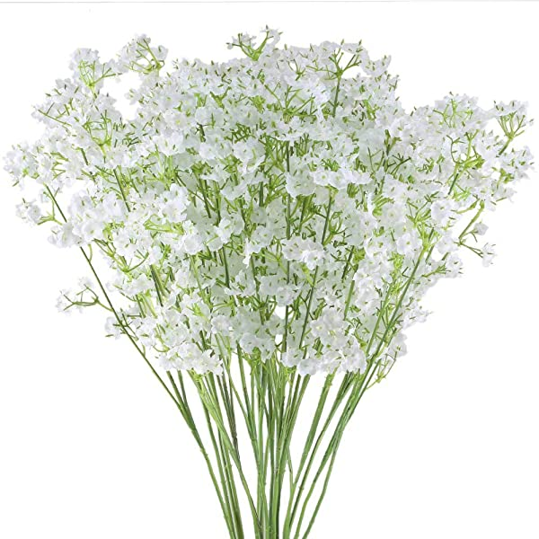 Hauserlin 20 Pcs Baby S Breath Flowers 16 Artificial Gypsophila Bouquets Real Touch Flowers For Wedding Home Garden DIY D Cor Hotel Table Decoration