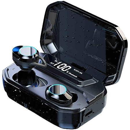 【2020 Bluetooth5.0 イヤホン LED電量表示】Bluetooth イヤホン AAC対応 自動ペアリング 完全 ワイヤレス イヤホン 8Dステレオサウンド IPX7防水 両耳 左右分離型 CVC8.0ノイズキャンセリング タッチ式 ブルートゥース イヤホン3500mAh充電ケース付き Siri対応 マイク内蔵 ハンズフリー通話 技適認証済 iPhone/iPad/Android適用 (ブラック)