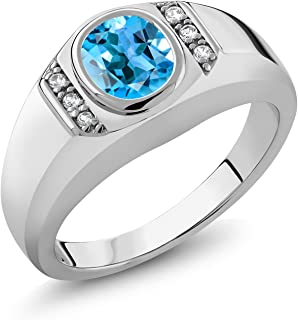 Gem Stone King Men's 925 Sterling Silver Swiss Blue Topaz and White Created Sapphire Ring (1.36 Ct, Available in size 7, 8, 9, 10, 11, 12, 13)