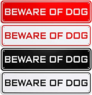 Hotop 4 Pieces Beware of Dog Sign Aluminum Not Responsible Warning Caution Dog Sign Rust Resistant Weatherproof Sign for O...
