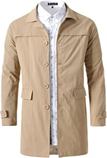 uxcell Men Single Breasted Lightweight Notched Collar Spring Trench Coat Jacket