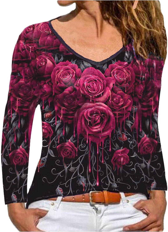 A2A Rose Print Tops for Women Long Sleeve V-Neck Loose Waist Knot Blouse Boho Sweatshirts Workout Sexy Tunic Shirts