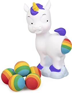 Hog Wild Pooping Unicorn Popper Toy - Shoot Foam Balls Up to 20 Feet - 6 Rainbow Balls Included - Age 4+