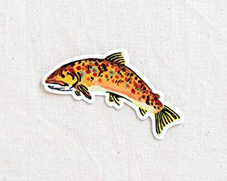 Brown Trout Fish Animal Sticker - Waterproof Vinyl Sticker - Adventure Sticker - Camping and Hiking Gear - Water Bottle Decal - Car Decal