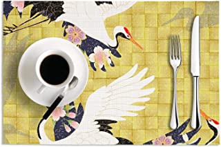 Set Of 2 Placemats 12X18 PVC Woven Vinyl Red-Crowned Crane In The Flowers Heat-Resistant Stain Resistant Anti-Skid Table Mat For Kitchen Dining Coffee