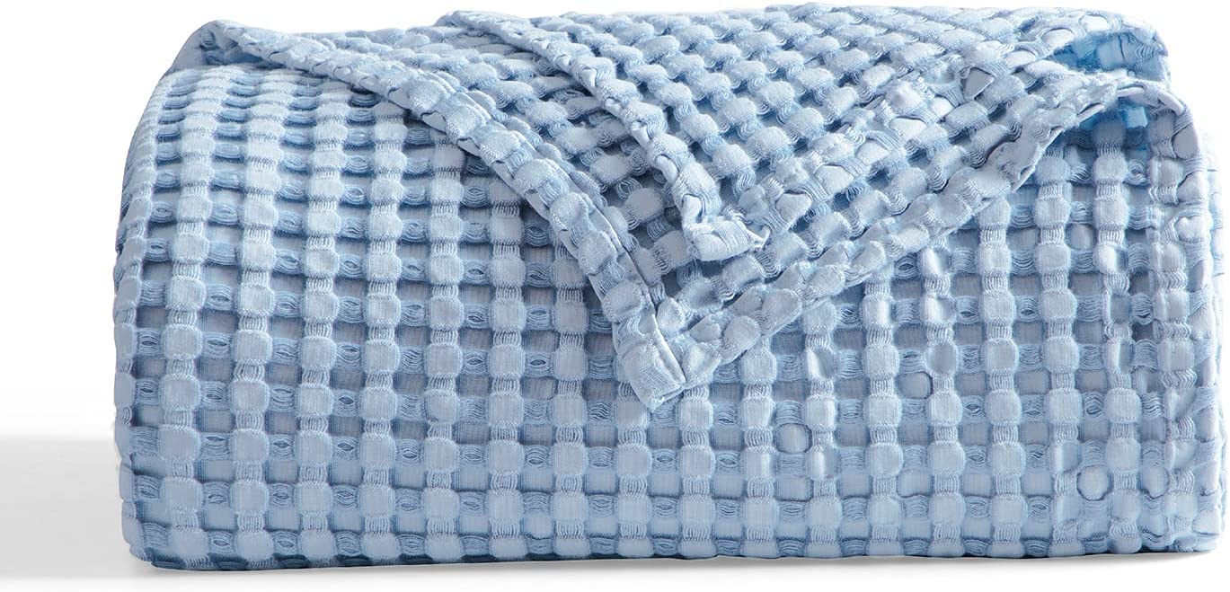 Bedsure Waffle Bamboo Blanket Cotton - Waffle Weave Throw Blanket for Couch Sofa, Soft Decorative Lightweight Blanket for All Seasons(50x60 inches, Blue) : Home & Kitchen