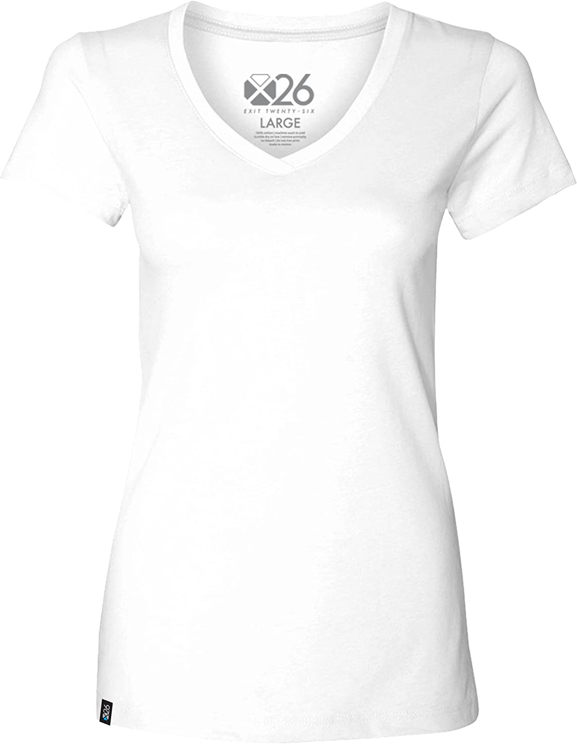 EXIT 26 Women's Premium Ultra Soft Sueded Jersey V Neck Plain and Heather TShirts