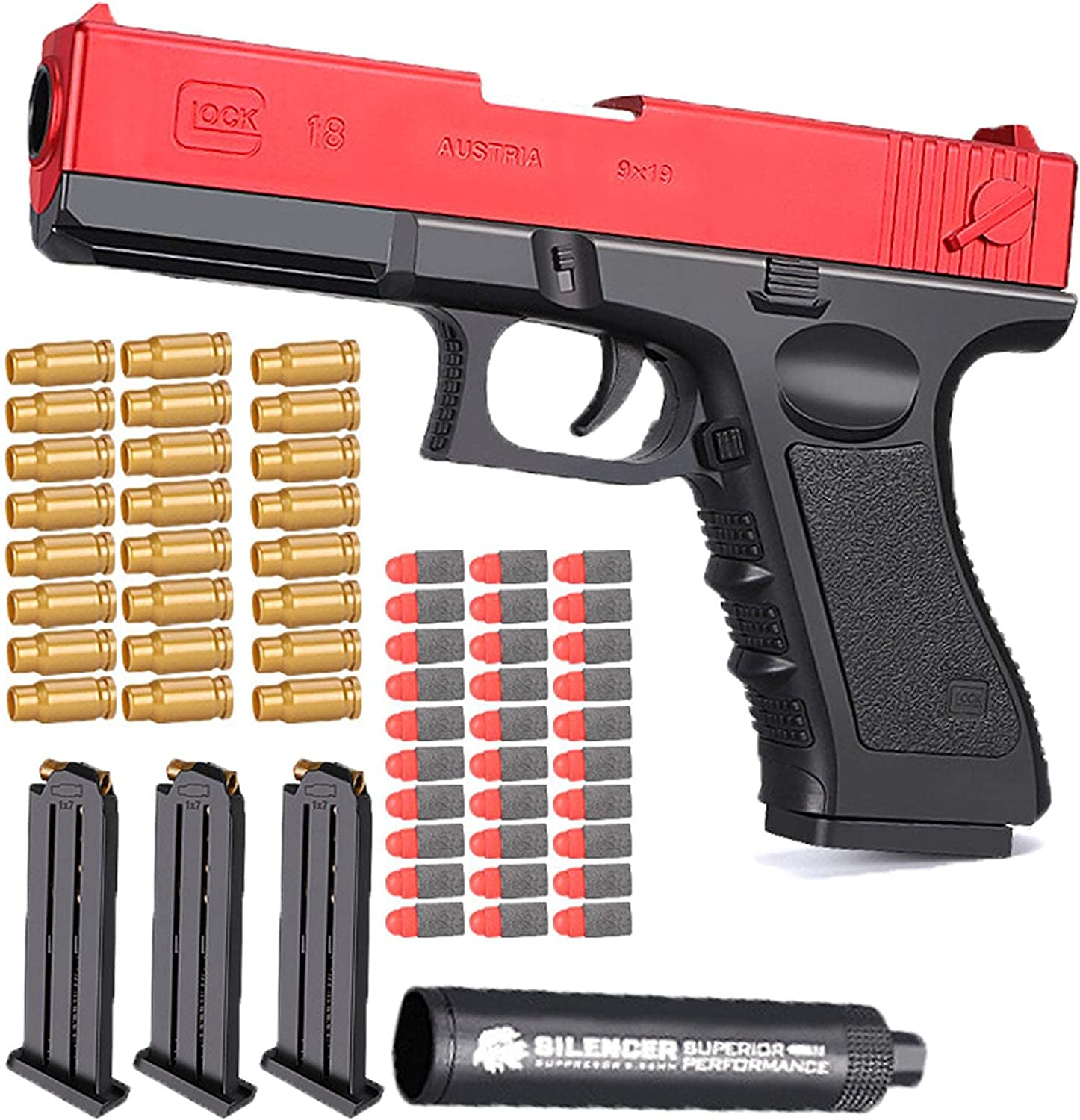 FTIK Shell Ejection Soft Bullet Toy Gun, M1911, 1:1 Size Real Dimensions with Ejecting Magazine and Silencer, Teach Shooter and Gun Safety, Outdoor Game Red