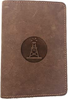 Oilfield Roughneck (Milk Chocolate) Engraved - Deluxe Full Grain Leather Passport Cover Wallet Case - Handmade With Traditional Craftsmanship - Can Store Two Us Passports
