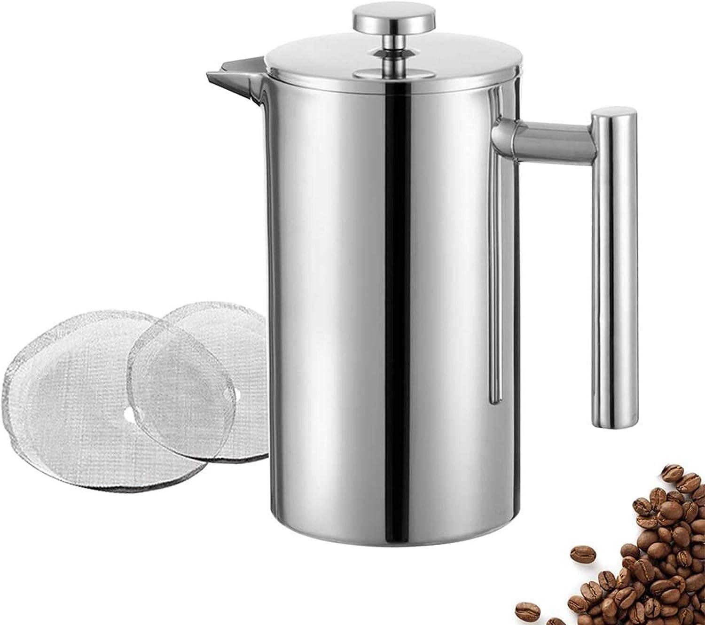 Meelio French Press - Cafetera de prensa (1,5 L, 10 tazas, acero inoxidable, con dos filtros adicionales y cuchara dosificadora, recipiente aislado de doble pared