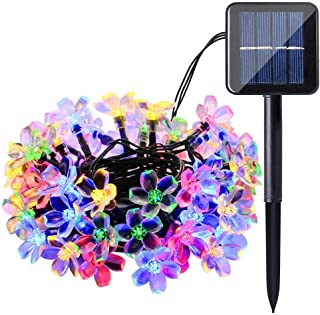 Solar String Lights Outdoor 7 M 50 LED Crystal Flower Fairy Blossom Waterproof for Garden Patio Yard (Multi Color)