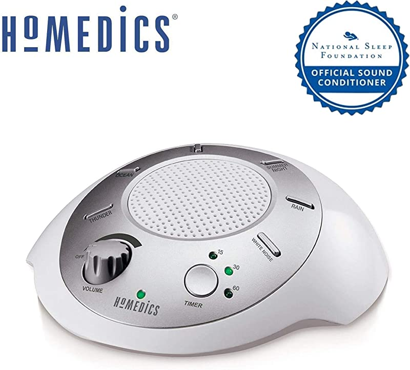 White Noise Sound Machine Portable Sleep Therapy For Home Office Baby Travel 6 Relaxing Soothing Nature Sounds Battery Or Adapter Charging Options Auto Off Timer HoMedics