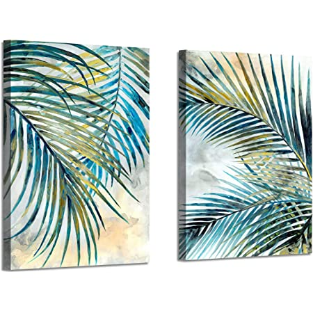 Abstract Palm Leaves Wall Art Tropical Ferns Leaf Graphic Art Print On Wrapped Canvas Set For Dining Rooms 12 W X 16 H X 2 Pcs Multi Sized Kitchen Dining