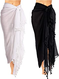 79aee44b47 2 Pieces Women Beach Batik Long Sarong Swimsuit Cover up Wrap Pareo with  Tassel for Women