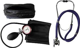 Tensiómetro de brazo con 1 tubo y estetoscopio Rappaport/doble cabezal, color azul oscuro, 1 unidad (= 1 juego de 2 artículos)