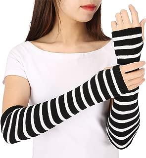 Women Fingerless Long Gloves Thumbhole Arm Warmer Sleeve Elbow Length