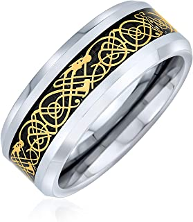 Bling Jewelry Due tonalità Celtic Knot Dragon Inlay Couples Titanium Wedding Band Rings for Men for Women Comfort Fit 8MM ...