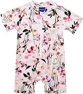 Cadocado Baby Girls Print Zip Rash Guard Swimwear Ruffled UPF 50+ Short Sleeve Bathing Suit