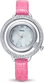 Time Women Diamond Watch with Leather Band Double Circle Case