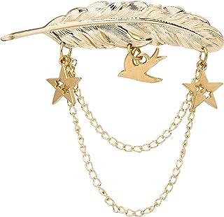 Knighthood Broche de metal con plumas doradas y estrellas colgantes y paloma, para hombre