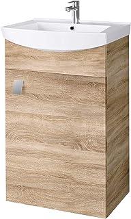 Planetmöbel Meuble Lave-Mains 45cm chêne sonoma, Lavabo avec Armoire de Salle de Bain sous vasque, Espace de rangement sus...
