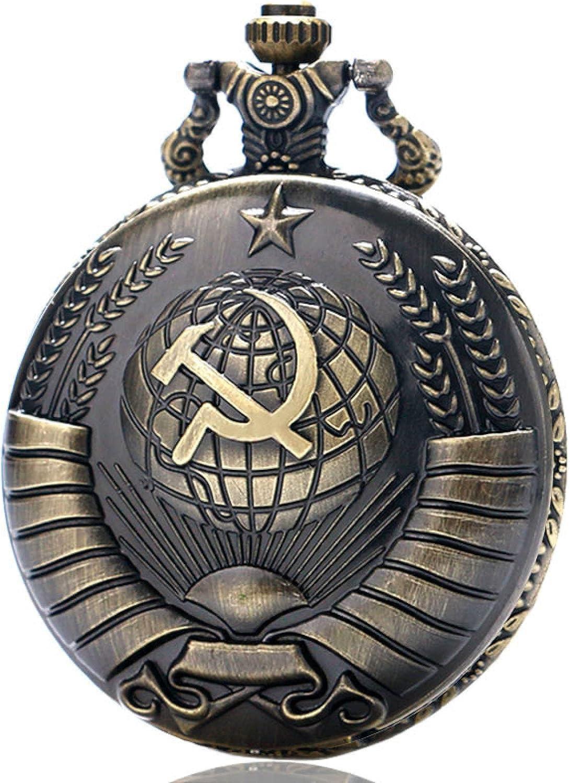 LWCOTTAGE Reloj De Bolsillo De Cuarzo - Vintage Bandera De La Unión Soviética Martillo Y Hoz Reloj De Bolsillo Diseñador Rusia Emblema Comunismo Cuarzo Bronce Regalos
