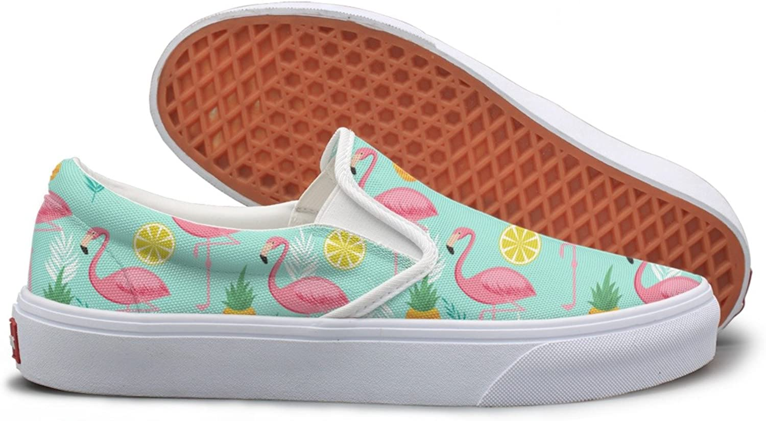 SEERTED Pink Flamingo Pineapples and Exotic Leaves Comfortable Sneakers for Standing All Day