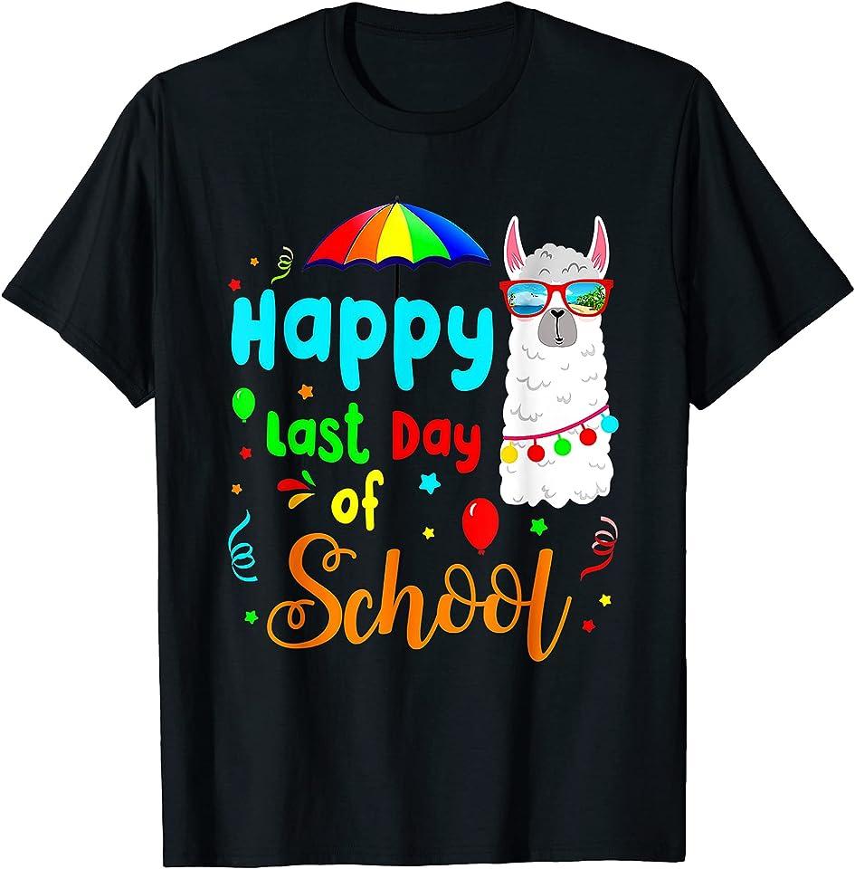 Happy Last Day Of School Alpaca Llama With Sunglasses T-Shirt