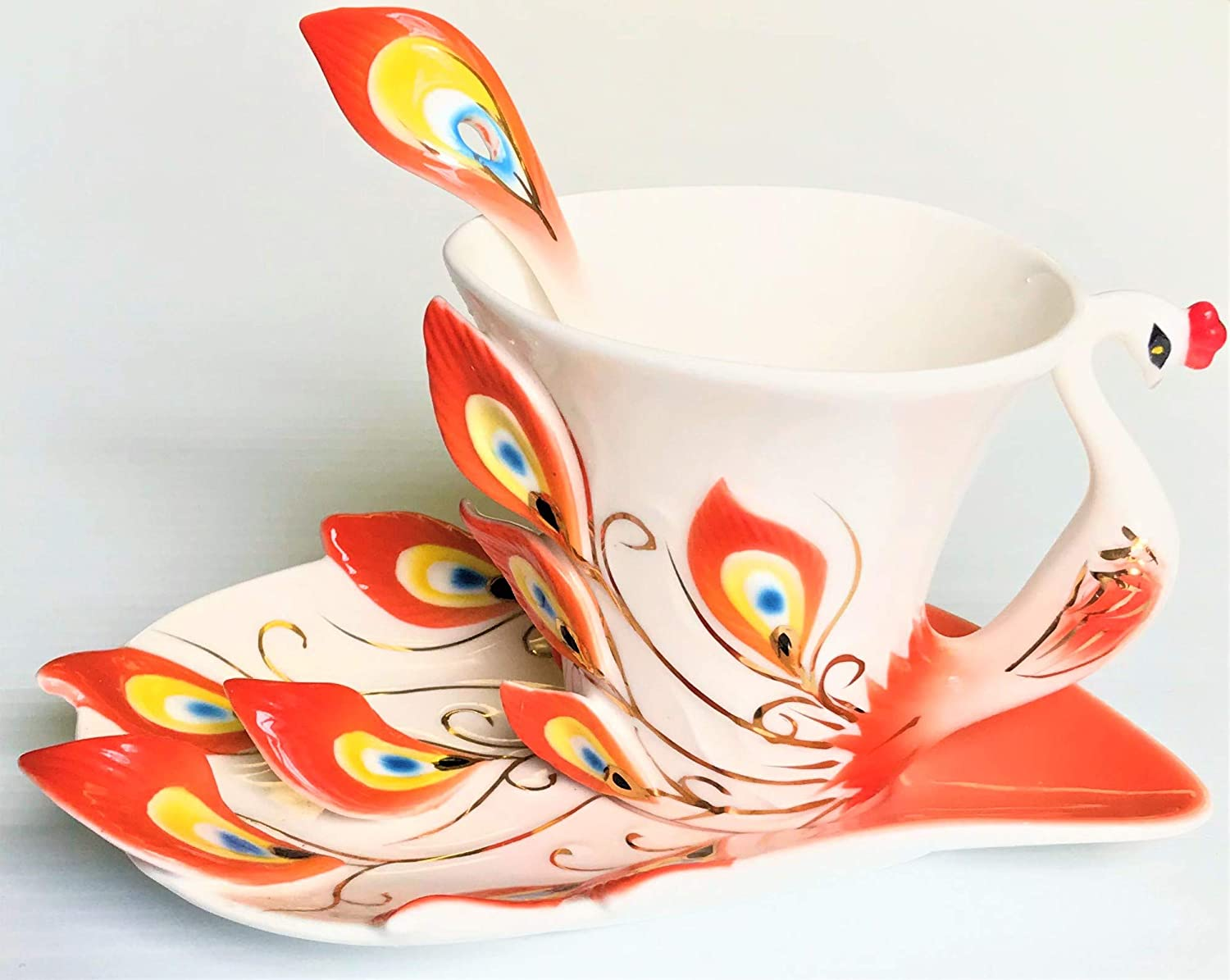Handcrafted Porcelain Orange Peacock Design with Coffee Set 5 ☆ popular Max 46% OFF Tea