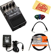 Boss RV-6 Reverb Bundle with Power Supply, Instrument Cable, Patch Cable, Picks, and Austin Bazaar Polishing Cloth