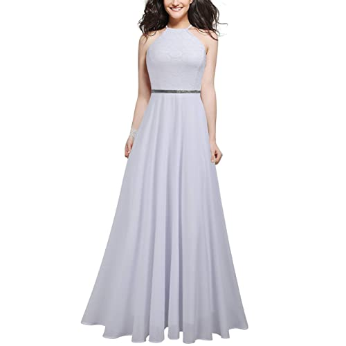 7dbbdd62d89 Mmondschein Women s Vintage Halter Wedding Bridesmaid Chiffon Long Dress