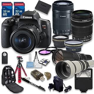 Canon EOS Rebel T6i 24.2 MP Digital SLR Camera with Canon EF-S 18-135mm f/3.5-5.6 IS STM Lens + Canon EF-S 55-250mm f/4-5.6 IS STM Lens - International Version (No Warranty)
