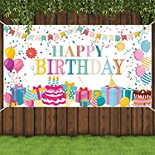 Opopark Large Happy Quarantine Birthday Decoration Social Distancing Party Banner Birthday Sign Hanging Decor Social Dista...