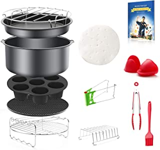 8 inch General Air Fryer Accessories 13 pieces with Recipe Cookbook Compatible with Philips Gowise USA Cozyna Power Airfryer 4.2QT–5.8QT, Kasmotion Deep Fryer Accessories Set of 13