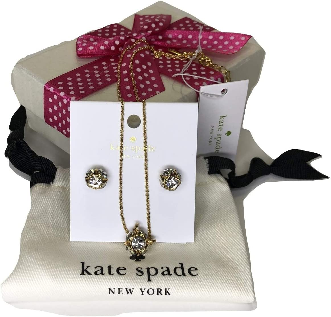 Kate Spade New York Marmalade Necklace Bundled with Kate Spade Marmalade Stud Earrings Clear/Gold