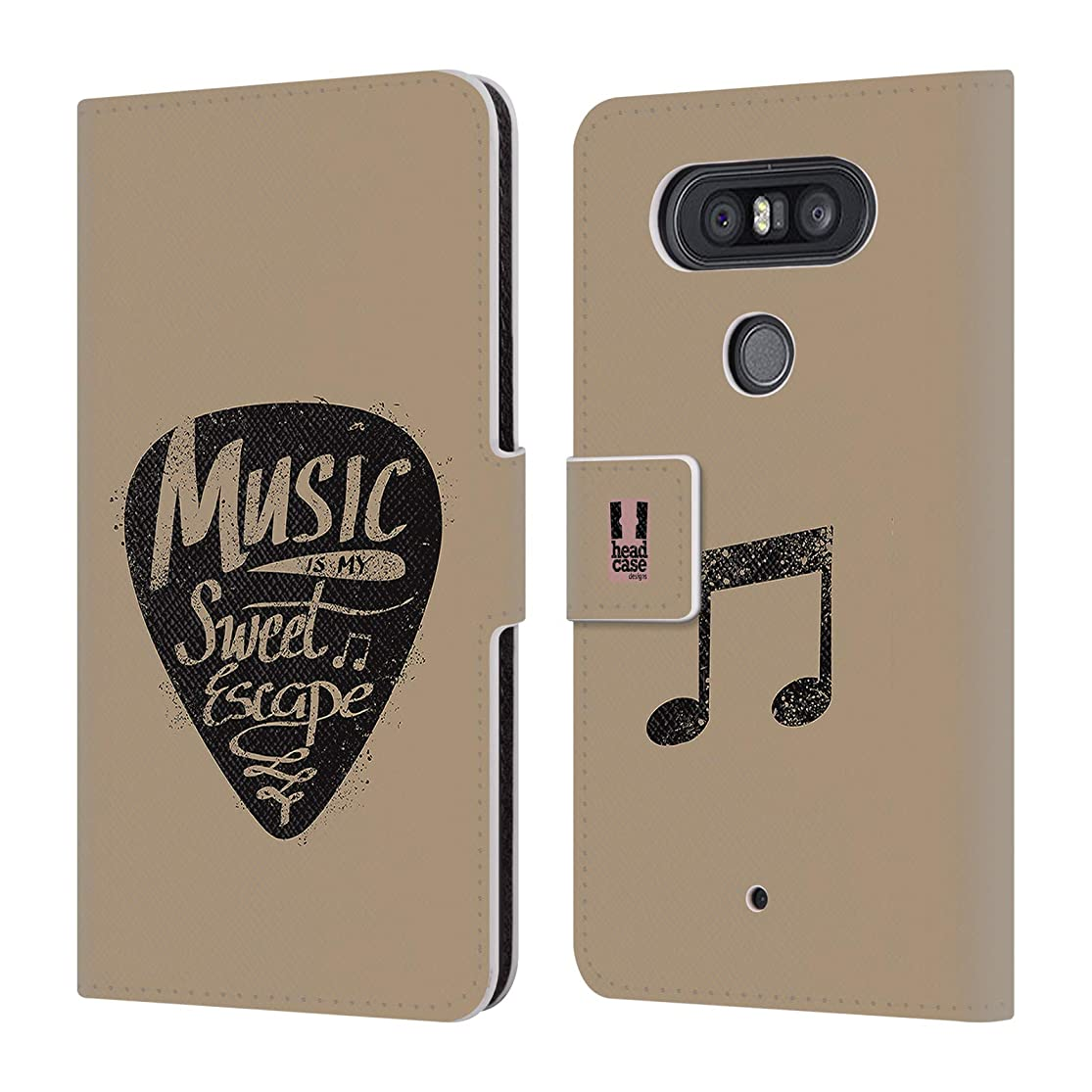 Head Case Designs Guitar Pick All About Music Leather Book Wallet Case Cover for LG Q8 llqltdmy4