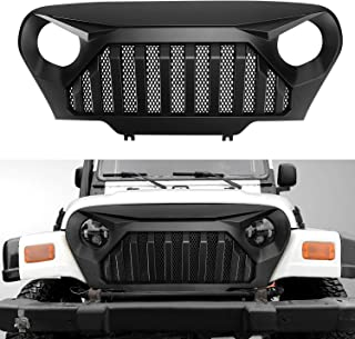 Grill for Jeep TJ,Gladiator Grille Front Cover with Inserts Grille Accessories For 1997-2006 Jeep Wrangler TJ LJ (Matte Black)